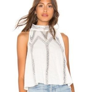 Free People Sequin Tie Neck Tank